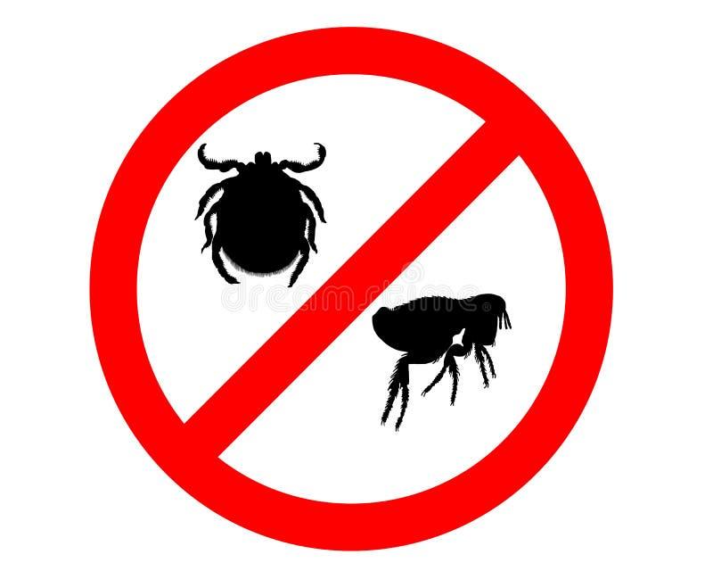 Het teken van het verbod voor vlooien en tikken stock illustratie