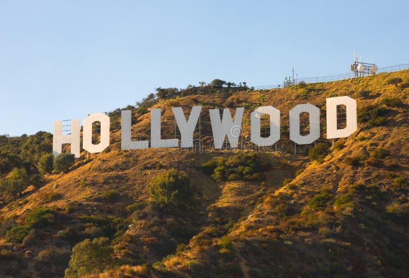 Het Teken van Hollywood bij zonsondergang royalty-vrije stock fotografie