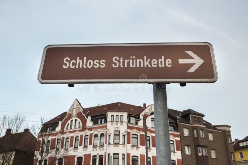 het teken van kasteel struenkede Herne Duitsland stock fotografie