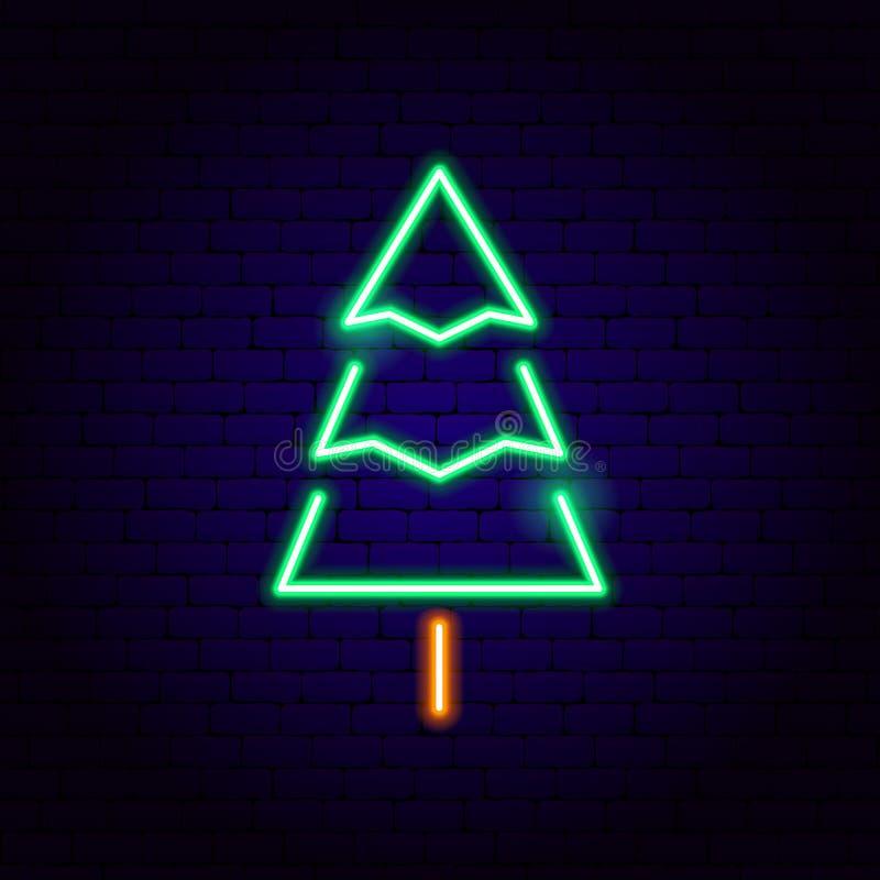Het teken van het kerstboomneon vector illustratie