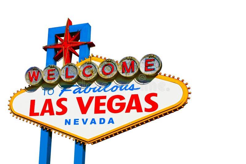 Het teken van Las Vegas op wit stock fotografie