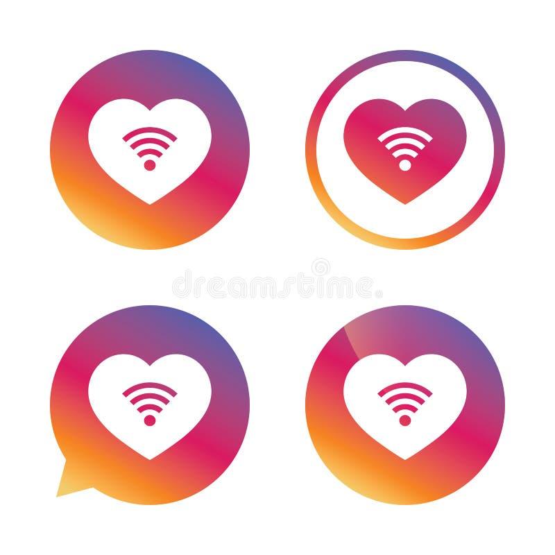 Het teken van liefdewifi Symbool wi-FI Draadloos netwerk royalty-vrije illustratie