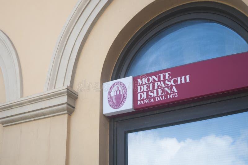 Het teken van Monte-dei Paschi di Siena, één van de oudste banken in de wereld stock fotografie