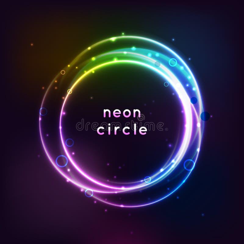 Het teken van het neon Rond kader met het gloeien en licht Het elektrische heldere 3d ontwerp van de kringsbanner op donkerblauwe stock illustratie