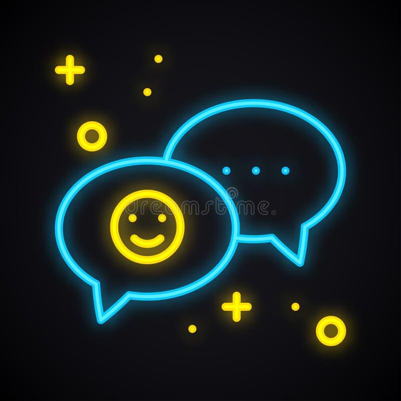 Het teken van het neonbericht Heldere toespraakbel met glimlach De lichte dialoog van het gesprekspraatje royalty-vrije illustratie