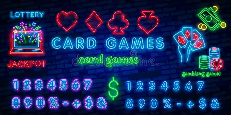 Het Teken van het neoncasino Pook, de kostuums van de blackjackkaart, het hartclub van de spadediamant Uitstekende gloeiende sing stock illustratie