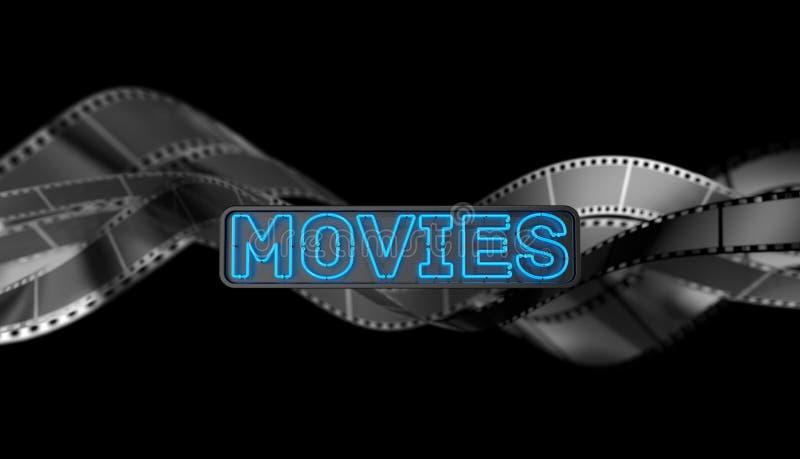 Het Teken van neonfilms op donkere achtergrond vector illustratie