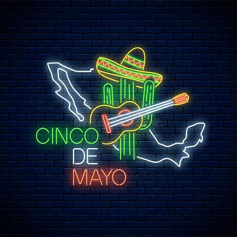 Het teken van neonsinco DE Mayo met de kaart van Mexico Het Mexicaanse ontwerp van de festivalvlieger met gitaar, cactus en sombr stock illustratie