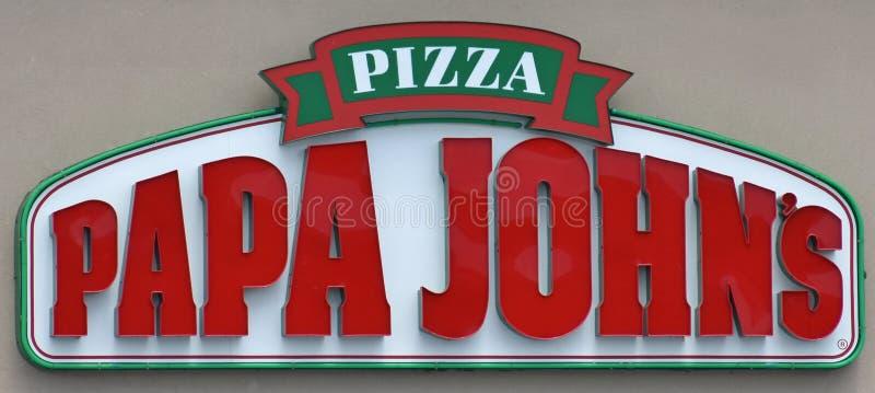 Het teken van Papa John ` s bij de bouw stock fotografie