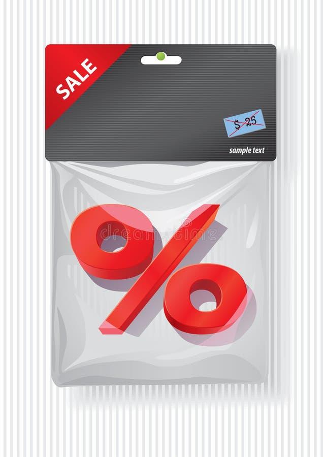 Het teken van percenten in plastic zak royalty-vrije illustratie