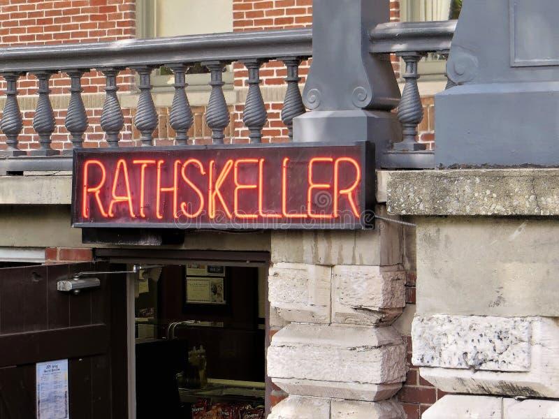 Het teken van het Rathskellerneon royalty-vrije stock afbeelding