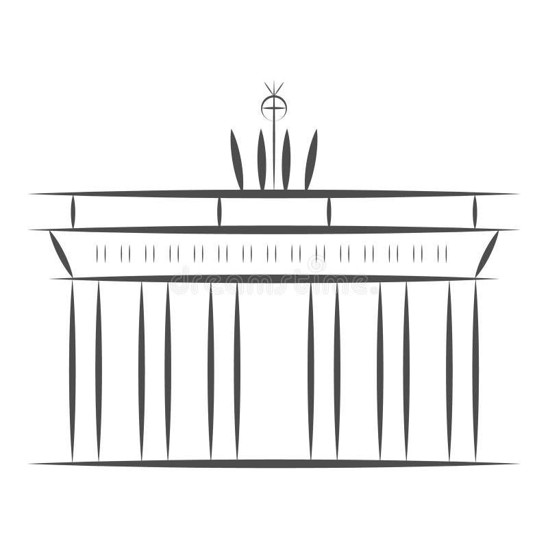 Het teken van reisduitsland Poort van de stads de beroemde Brandenburger van Berlijn Vectordieschetsillustratie op witte achtergr royalty-vrije illustratie