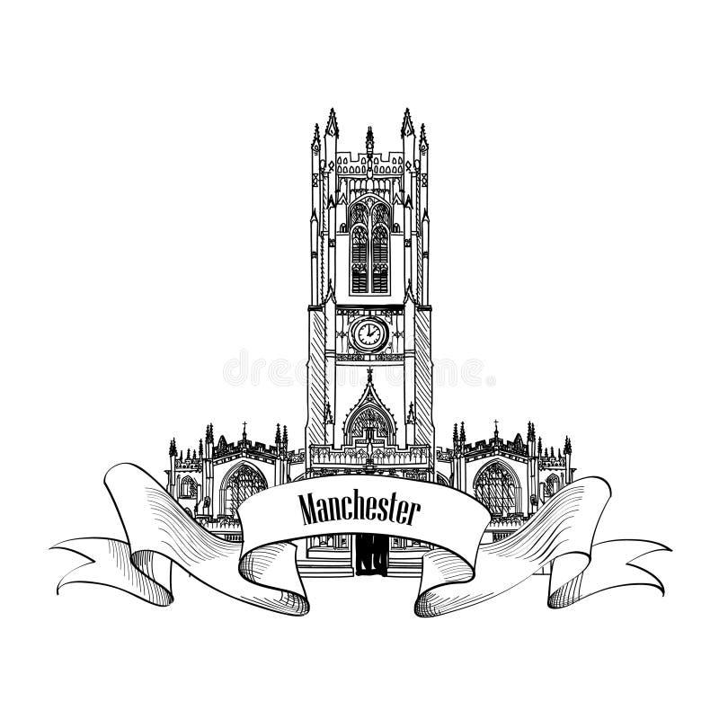 Het teken van reisengeland De stadsetiket van Manchester, het UK, Grote Britan eng royalty-vrije illustratie