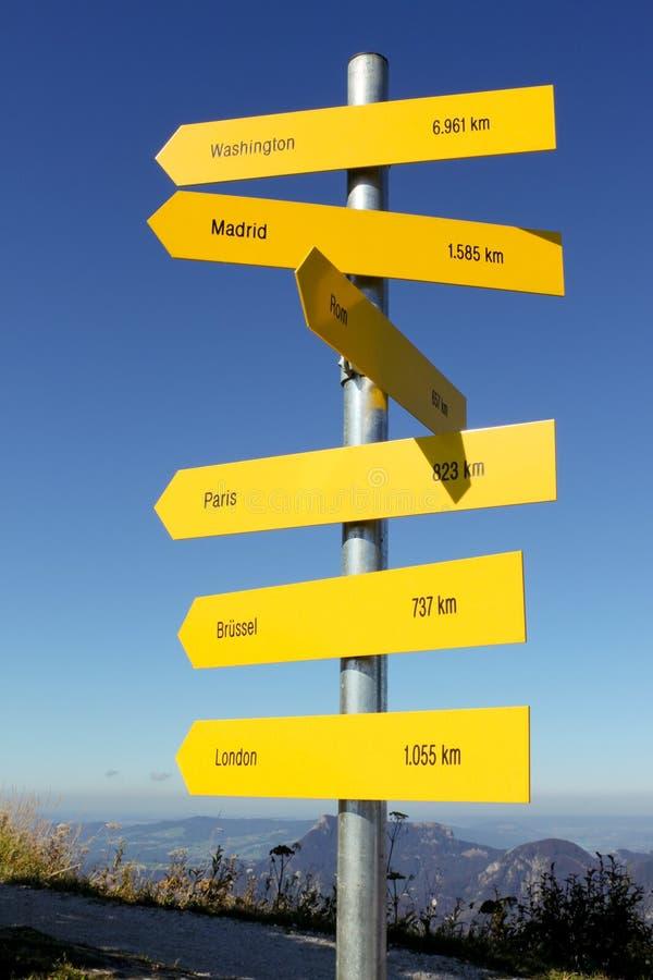 Het teken van richtingen en van afstanden in Oostenrijkse Alpen royalty-vrije stock afbeeldingen