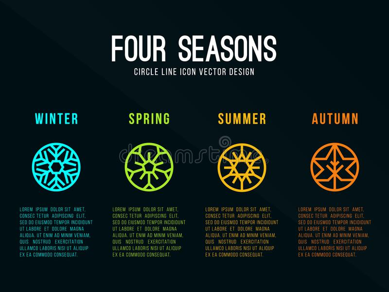 het teken van het 4 seizoenenpictogram in de lijn van de cirkelgrens met de Sneeuwwinter, de Bloemlente, de Zonzomer en de Herfst vector illustratie