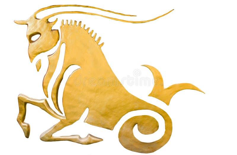 Het teken van Steenbok van horoscoop op wit wordt geïsoleerd dat royalty-vrije stock afbeeldingen