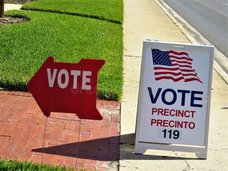 Het teken van het stemgebied, Tamper, Florida stock foto