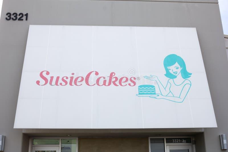 Het teken van het SusieCakesrestaurant stock foto