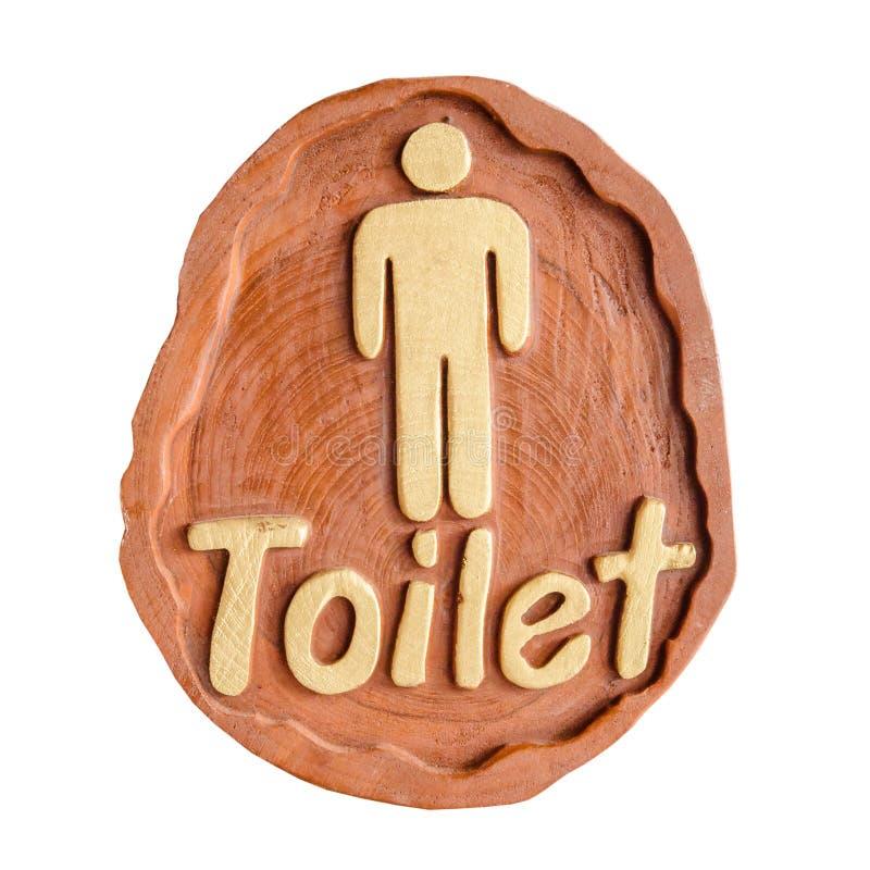 Het teken van toiletwc voor mensen, met de hand gemaakt van hout stock afbeelding