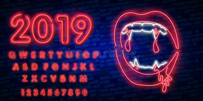 Het teken van het vampierenneon Nacht paty neon Gelukkig Halloween Neonteken, helder uithangbord, lichte banner Vector royalty-vrije illustratie