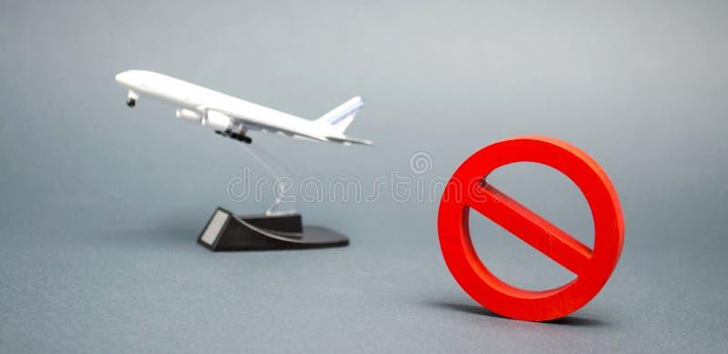 Het teken van het verbod en een miniatuurstuk speelgoed vliegtuig Verbod op vluchten van vliegtuigen voor de burgerluchtvaart Ver stock foto