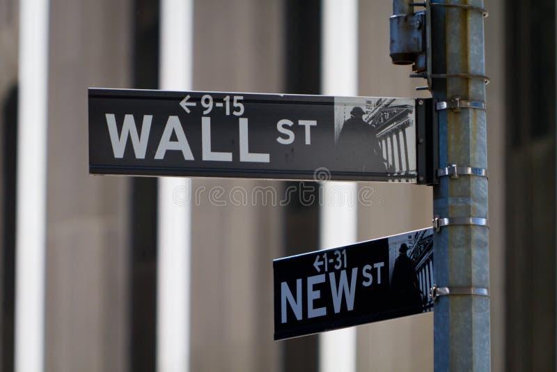 Het teken van Wall Street stock foto's