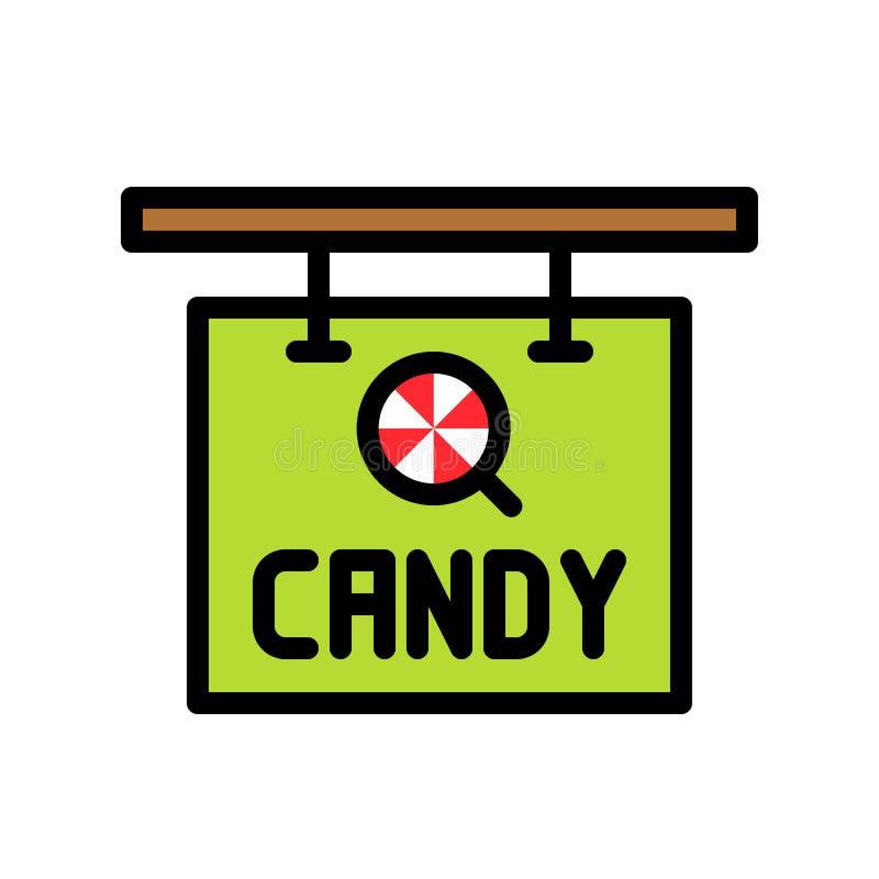 Het teken vectorillustratie van de suikergoedwinkel, het gevulde editable overzicht van het stijlpictogram stock illustratie