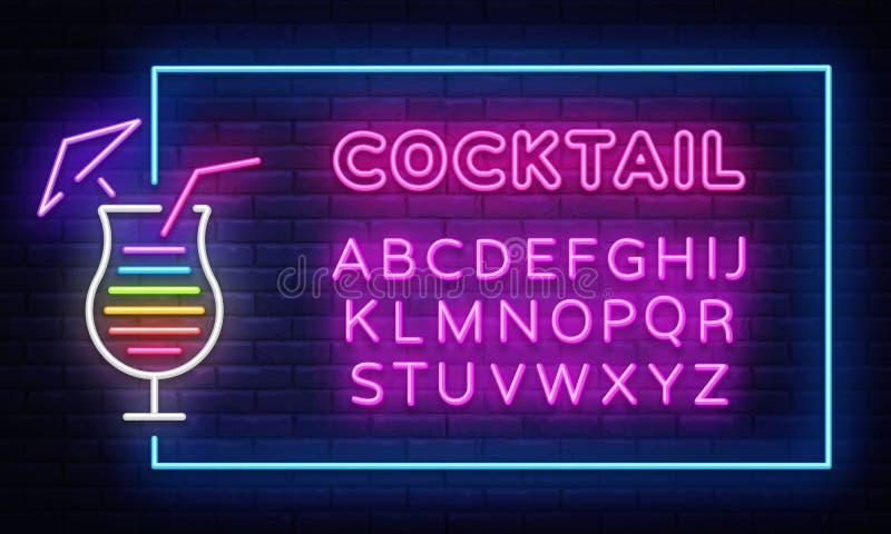 Het teken vectorontwerpsjabloon van het cocktailneon Van het het neonkader van de nachtclub element van het de bannerontwerp het  royalty-vrije illustratie