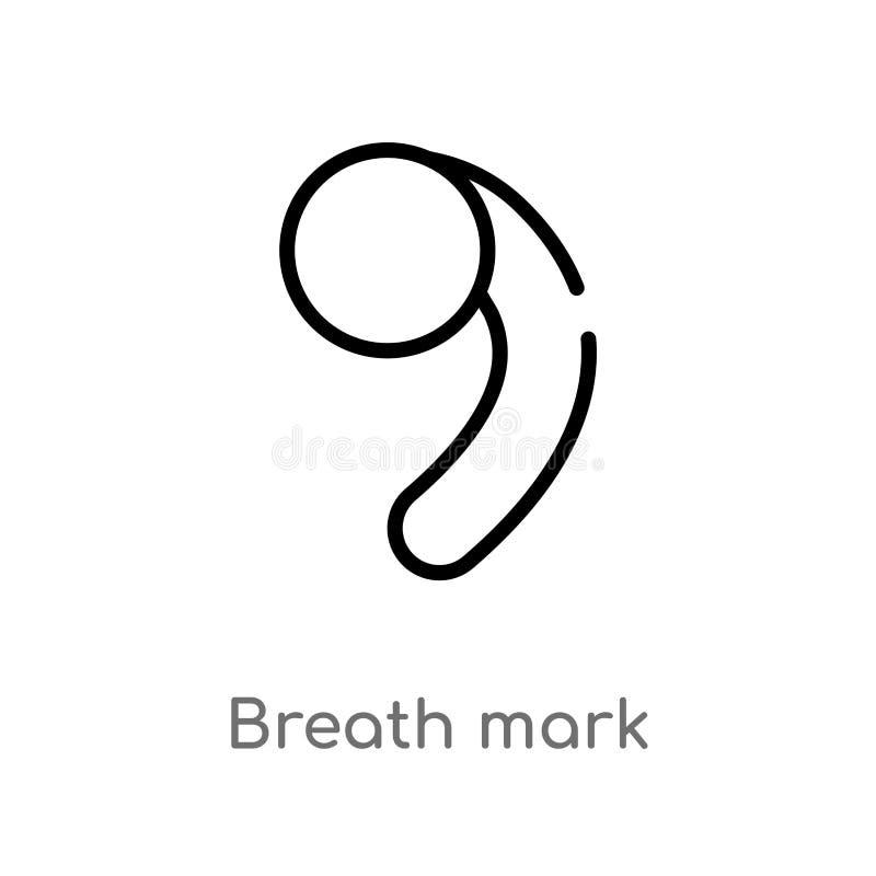 het teken vectorpictogram van de overzichtsadem de ge?soleerde zwarte eenvoudige illustratie van het lijnelement van muziek en me stock illustratie