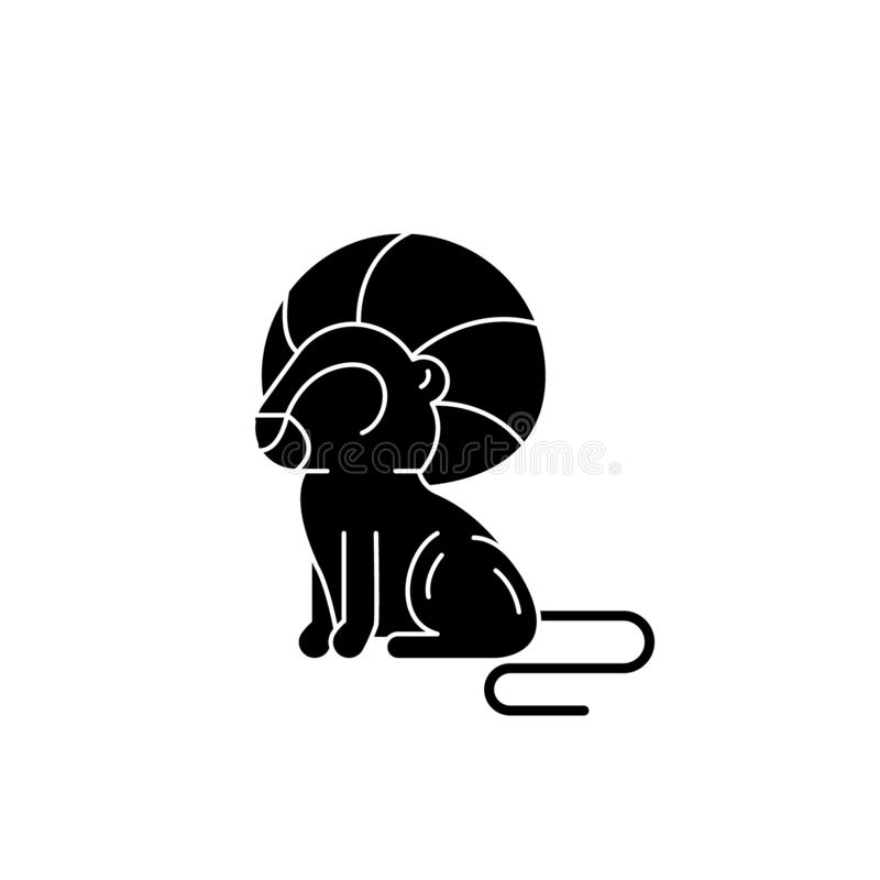 Het teken zwart pictogram van de Leeuwdierenriem, vectorteken op geïsoleerde achtergrond Het symbool van het het tekenconcept van stock illustratie