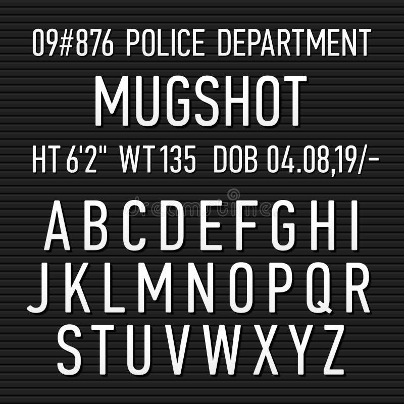 Het tekenalfabet van de politie mugshot raad vector illustratie