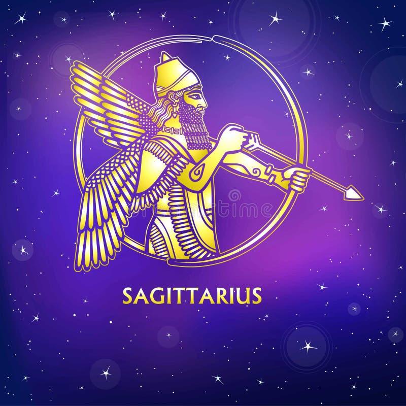 Het tekenBoogschutter van de dierenriem Karakter van Sumerische mythologie Gouden imitatie royalty-vrije illustratie