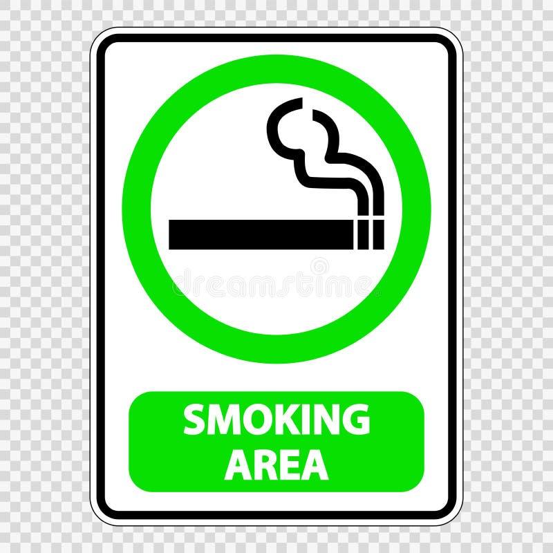 het tekenetiket van het symbool rokend gebied op transparante achtergrond royalty-vrije illustratie