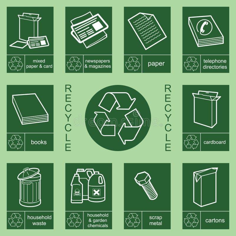Het tekeninzameling 3 van het recycling royalty-vrije illustratie