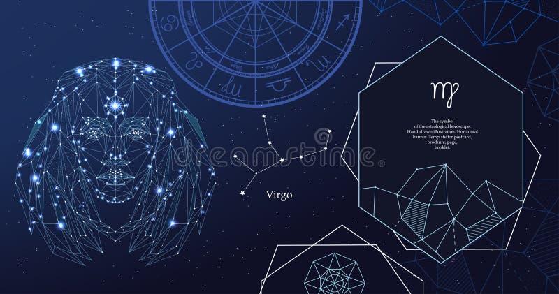 Het tekenMaagd van de dierenriem Het symbool van de astrologische horoscoop Horizontale banner stock illustratie