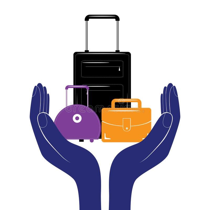 Het tekenpictogram van de bagageverzekering Het symbool van de reisbagage Bedrijfsemblemenvector vector illustratie