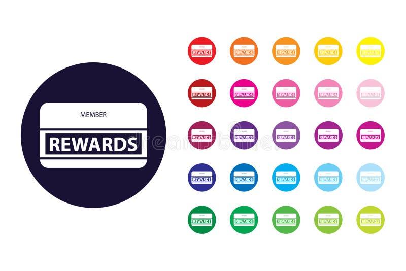 Het tekenpictogram van de beloningenkaart De kleurensymbool van de beloningenkaart royalty-vrije illustratie