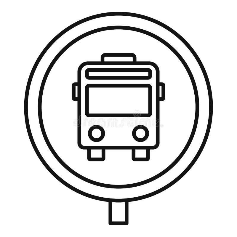 Het tekenpictogram van de cirkelbushalte, overzichtsstijl royalty-vrije illustratie