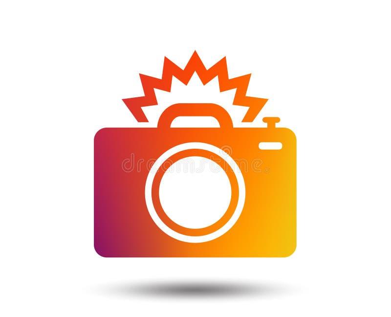 Het tekenpictogram van de fotocamera Het symbool van de fotoflits royalty-vrije illustratie