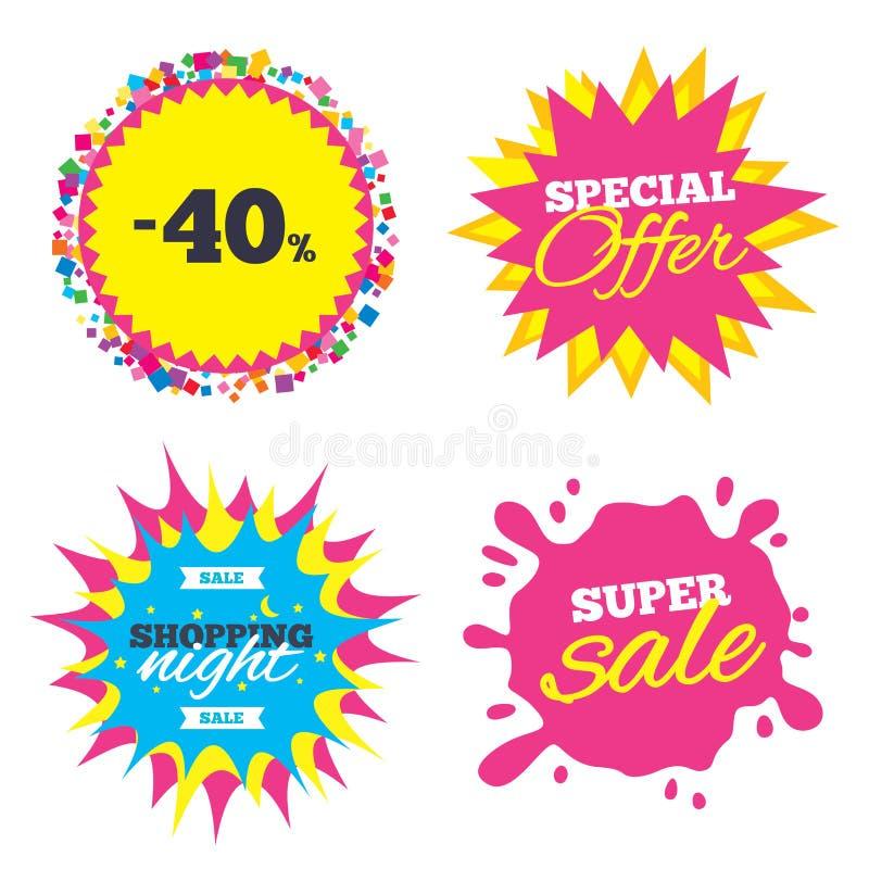 het tekenpictogram van de 40 percentenkorting Het symbool van de verkoop stock illustratie