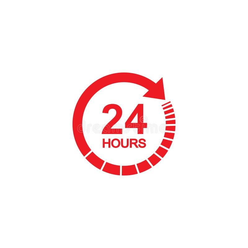 het tekenpictogram van de 24 uren rood klok in vlakke stijl Vierentwintig uur open vectorillustratie op geïsoleerd wit tijdschema stock illustratie