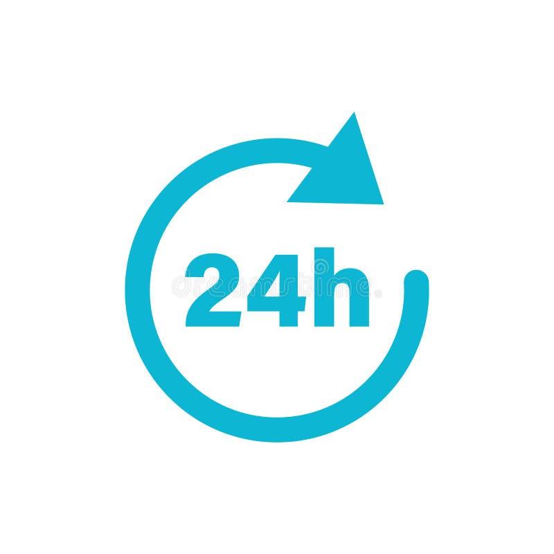 het tekenpictogram van de 24 urenklok in vlakke stijl Vierentwintig uur open vectorillustratie op wit geïsoleerde achtergrond Ti vector illustratie