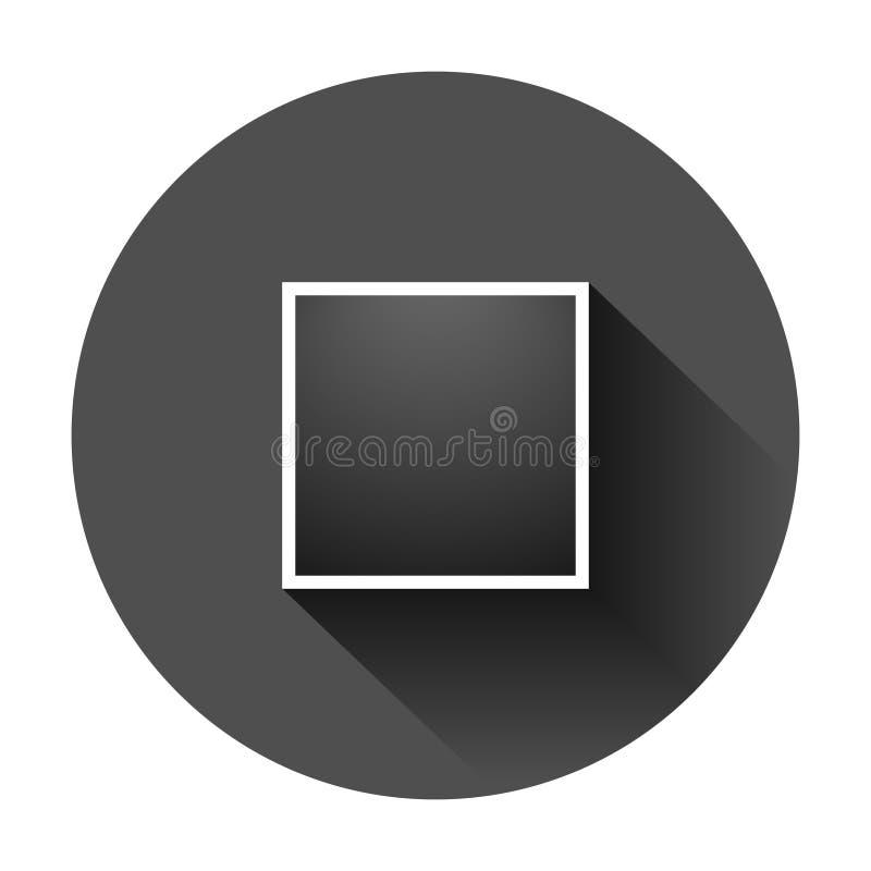 Het tekenpictogram van het fotokader in vlakke stijl De vectorillustratie van het momentopnamebeeld op zwarte ronde achtergrond m royalty-vrije illustratie