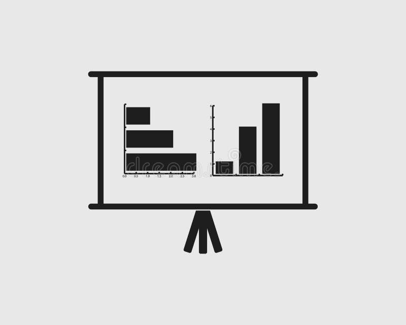 Het tekenpictogram van het presentatieaanplakbord Regeling en Diagramsymbool Gra vector illustratie