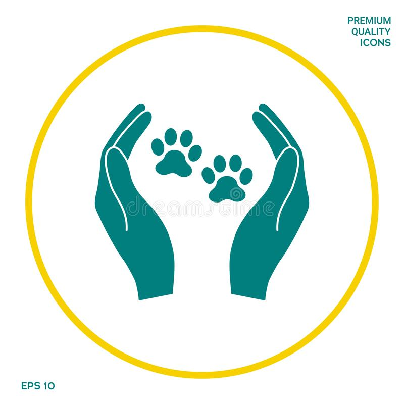 Het tekenpictogram van schuilplaatshuisdieren De handen houdt pootsymbool Dierenbescherming stock illustratie