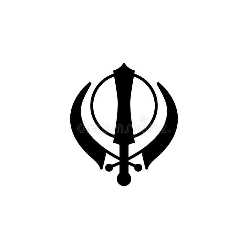 Het tekenpictogram van Sikhismkhanda Element van het pictogram van het godsdienstteken voor mobiel concept en Web apps Het gedeta vector illustratie