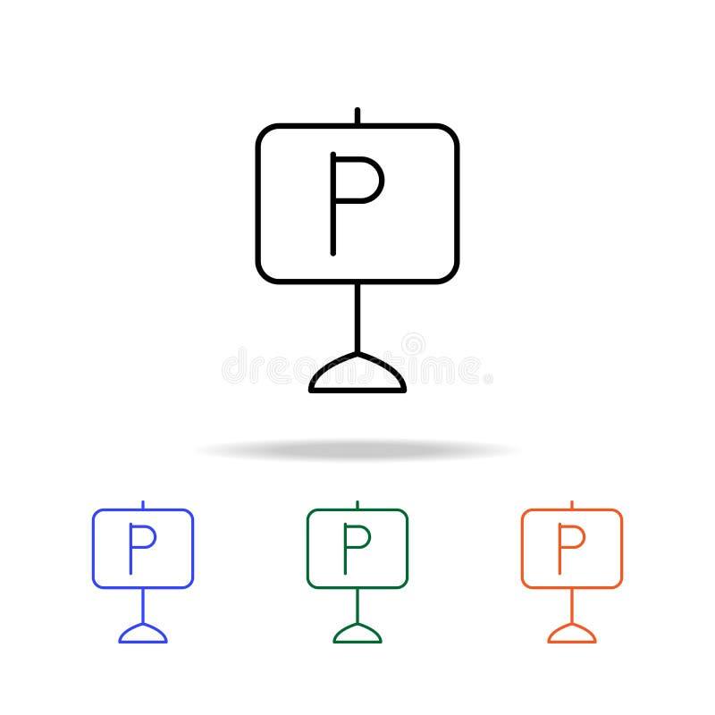het tekenpictogram van het wegparkeren Elementen van eenvoudig Webpictogram in multikleur Grafisch het ontwerppictogram van de pr royalty-vrije illustratie