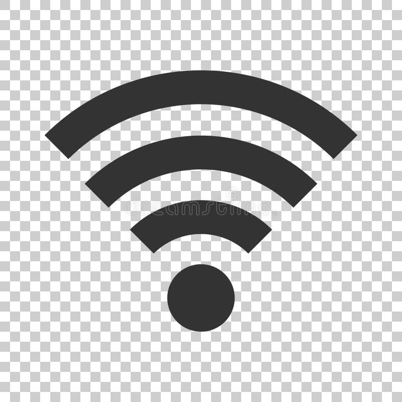 Het tekenpictogram van Wifiinternet in vlakke stijl De draadloze technologie van WiFi stock illustratie