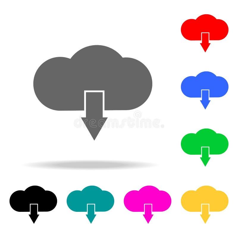 het tekenpictogrammen van de wolkendownload Elementen van menselijke Web gekleurde pictogrammen Grafisch het ontwerppictogram van vector illustratie