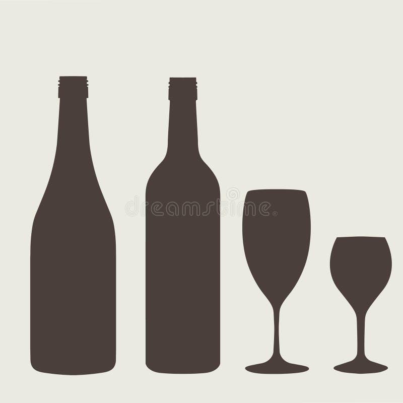 Het tekenreeks van de wijnfles Flessenpictogram stock illustratie